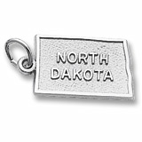 14K White Gold North Dakota Charm by Rembrandt Charms
