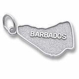 14K White Gold Barbados Map Charm by Rembrandt Charms