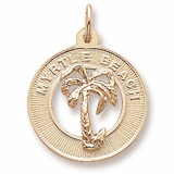 10K Gold Myrtle Beach Palm Tree Charm by Rembrandt Charms