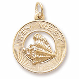 10K Gold Key West Conch Shell Ring Charm by Rembrandt Charms