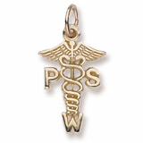 14K Gold PSW Caduceus Charm by Rembrandt Charms