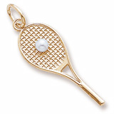 Gold Plated Tennis Racquet & pearl by Rembrandt Charms