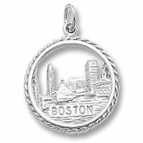 14K White Gold Boston Skyline Charm by Rembrandt Charms