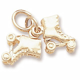 Gold Plate Roller Skates Accent Charm by Rembrandt Charms