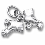 14K White Gold Roller Skates Accent Charm by Rembrandt Charms