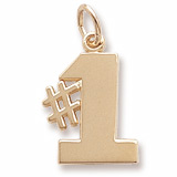 Gold Plated Number One Charm by Rembrandt Charms