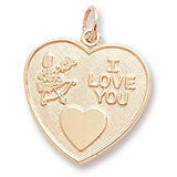 Gold Plated I Love You Heart Charm by Rembrandt Charms