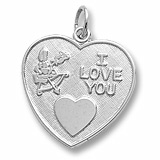 Sterling Silver I Love You Heart Charm by Rembrandt Charms