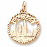 10K Gold Chicago Skyline Charm by Rembrandt Charms