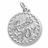 14k White Gold Adorable 10 Birthday Charm by Rembrandt Charms
