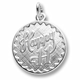 14k White Gold Happy 11 Birthday Charm by Rembrandt Charms