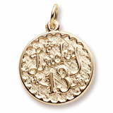 Gold Plated Lucky 13 Charm by Rembrandt Charms