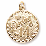 Gold Plated Darling 14 Birthday Charm by Rembrandt Charms