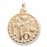 Gold Plated Sweet Sixteen Disc Charm by Rembrandt Charms