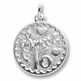 14k White Gold Sweet Sixteen Disc Charm by Rembrandt Charms