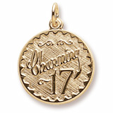10k Gold Charming 17 Birthday Charm by Rembrandt Charms