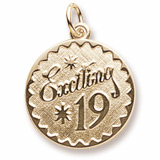 10k Gold Exciting 19 Birthday Charm by Rembrandt Charms