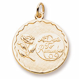 Gold Plate A Date To Remember Rose Charm by Rembrandt Charms