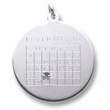 14k White Gold Birthstone Calendar Charm by Rembrandt Charms