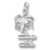 14K White Gold Paradise Island Palm Tree Charm by Rembrandt Charms