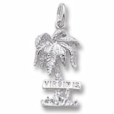 14K White Gold Virgin Islands Palm Tree Charm by Rembrandt Charms