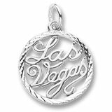 14K White Gold Las Vegas Faceted Charm by Rembrandt Charms