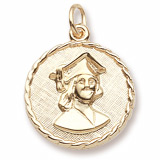 10K Gold Female Graduate Disc Charm by Rembrandt Charms