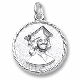 14K White Gold Female Graduate Disc Charm by Rembrandt Charms