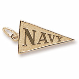 Gold Plate Navy Pennant Flag Charm by Rembrandt Charms