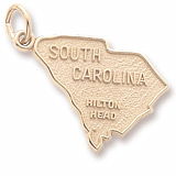 Gold Plated Hilton Head, SC. Map Charm by Rembrandt Charms