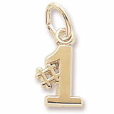14K Gold Number One Accent Charm by Rembrandt Charms