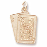 Gold Plated Black Jack Cards Charm by Rembrandt Charms