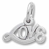 14K White Gold Signed with Love Accent Charm by Rembrandt Charms
