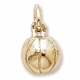 Gold Plate Basketball Accent Charm by Rembrandt Charms