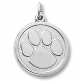 14k White Gold Paw Print Charm by Rembrandt Charms