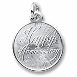 Sterling Silver Happy Anniversary Disc by Rembrandt Charms