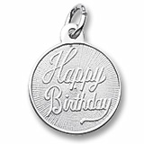 14K White Gold Happy Birthday Charm by Rembrandt Charms