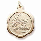 Gold Plate Happy Birthday Scalloped Charm by Rembrandt Charms