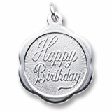 14K White Gold Happy Birthday Scalloped Charm by Rembrandt Charms