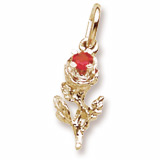 14K Gold Rose with Stone Accent Charm by Rembrandt Charms