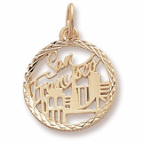 14K Gold San Francisco Faceted Charm by Rembrandt Charms