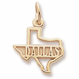 Gold Plated Dallas Texas Charm by Rembrandt Charms