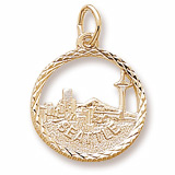 10K Gold Seattle Skyline Faceted Charm by Rembrandt Charms