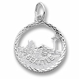 14K White Gold Seattle Skyline Faceted Charm by Rembrandt Charms