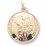 10K Gold Saint Florian Disc Charm by Rembrandt Charms