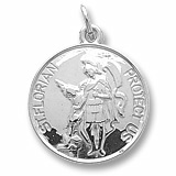 Sterling Silver Saint Florian Disc Charm by Rembrandt Charms