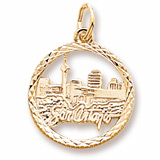 Gold Plated San Antonio TX. Skyline Charm by Rembrandt Charms