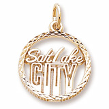 Gold Plate Salt Lake City Faceted Charm by Rembrandt Charms