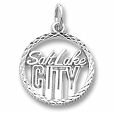 14K White Gold Salt Lake City Faceted Charm by Rembrandt Charms