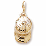 Gold Plate Baseball Hat Accent Charm by Rembrandt Charms
